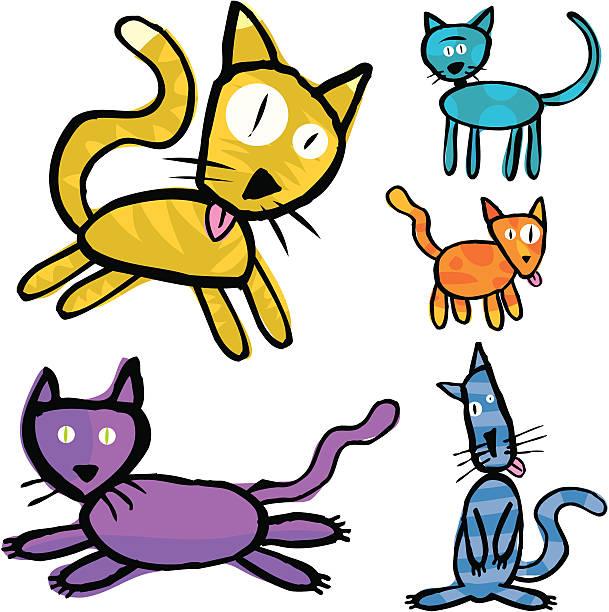 Silly Cats vektorkonstillustration