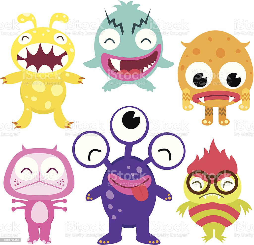 Silly Cute Monsters Set royalty-free silly cute monsters set stock vector art & more images of alien
