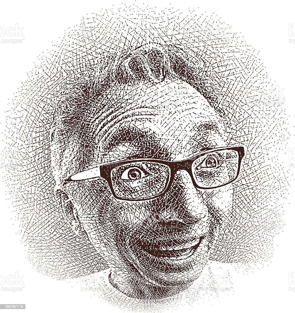 Silly Expression Etching vector art illustration