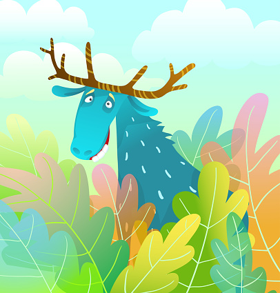 Silly Moose design looking amusing and eccentric in the forest background colorful watercolor style cartoon.
