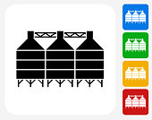 Silo Icon. This 100% royalty free vector illustration features the main icon pictured in black inside a white square. The alternative color options in blue, green, yellow and red are on the right of the icon and are arranged in a vertical column.
