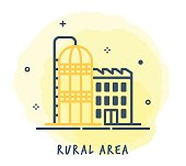 Line Style Vector Illustration for Rural Area.