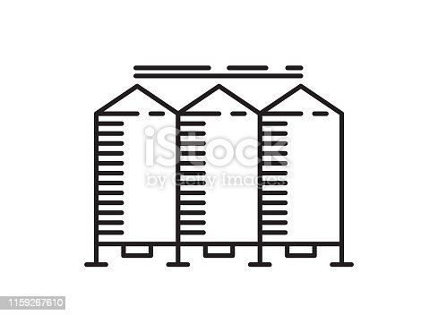 Silo icon line art. Silo outline design concept from Agriculture, Farming and Gardening collection. Simple granary line art element vector illustration isolated on white background.