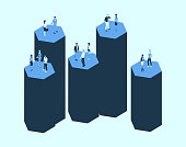 Illustration of five hexagonal silos is shown with people in isometric view, using a blue color palette.