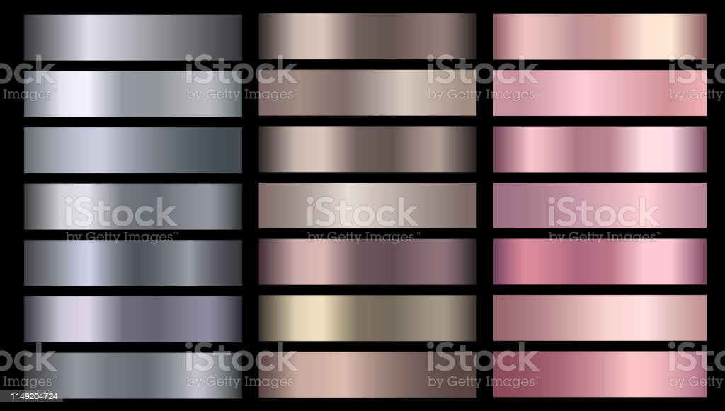 Silve, bronze, rose gold pink metallic foil texture vector gradients...