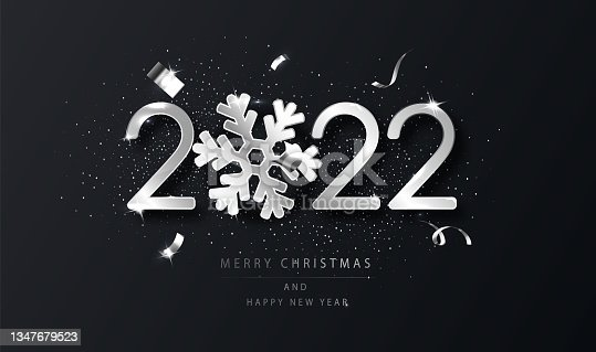 istock Silver 2022 Happy New Year background with snowflake. Black New Year background with wishes. Template for holyday design card, banner. 1347679523
