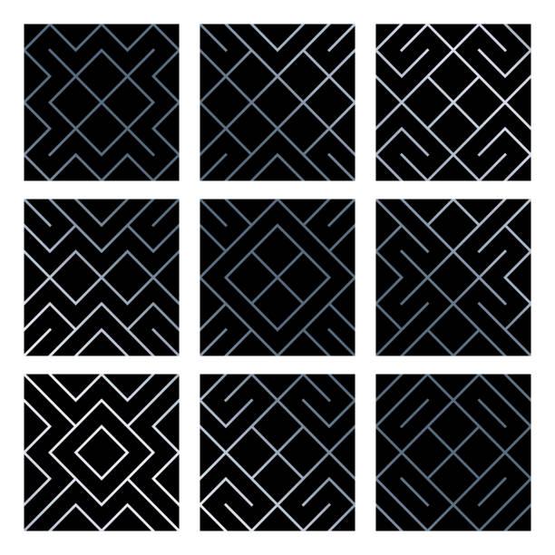 silber abstrakte geometrische musterdesign fliese hintergründe set mit glitzernden mesh-struktur. vektormuster von raute und metall linie knoten für luxus silber geometrie hintergrund schwarz design-vorlage - edelrost stock-grafiken, -clipart, -cartoons und -symbole