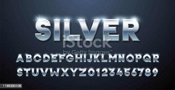 istock Silver Alphabet. Metallic font 3d effect typographic elements. Mettalic stainless steel three dimensional typeface effect 1199390108