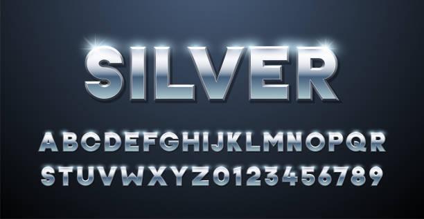 실버 알파벳. 금속 글꼴 3d 효과 입력 요소입니다. 메탈릭 스테인리스 3차원 서체 효과 - 크롬 stock illustrations