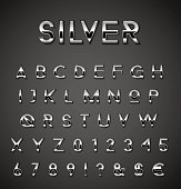 Shiny silver designer letters and numbers collection