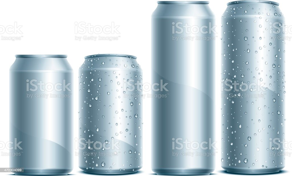 Silver aluminum cans with water droplets on the sides royalty-free stock vector art