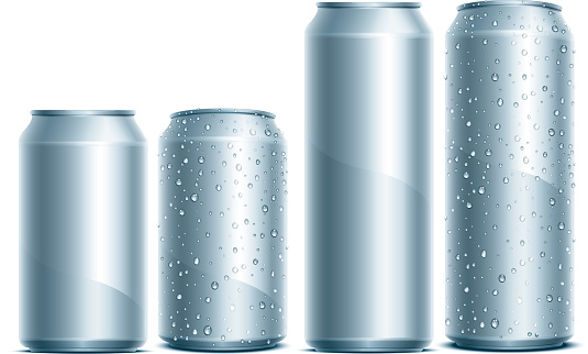 Silver aluminum cans with water droplets on the sides
