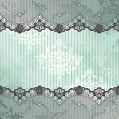 French lace design on blue background. Lace is seamless. Includes editable AI CS3 and Inkscape SVG files with transparencies.