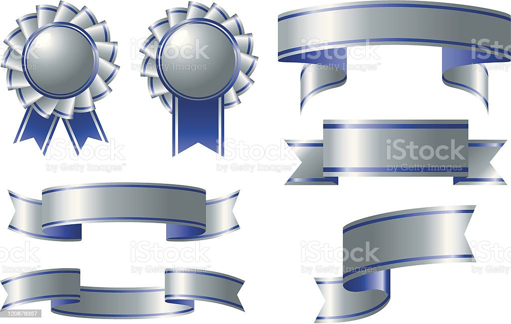 Silver and blue ribbon awards royalty-free silver and blue ribbon awards stock vector art & more images of award