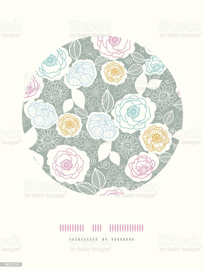 Silver and colors florals circle decor background royalty-free stock vector art
