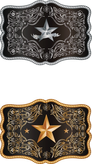 Silver and gold buckles on white