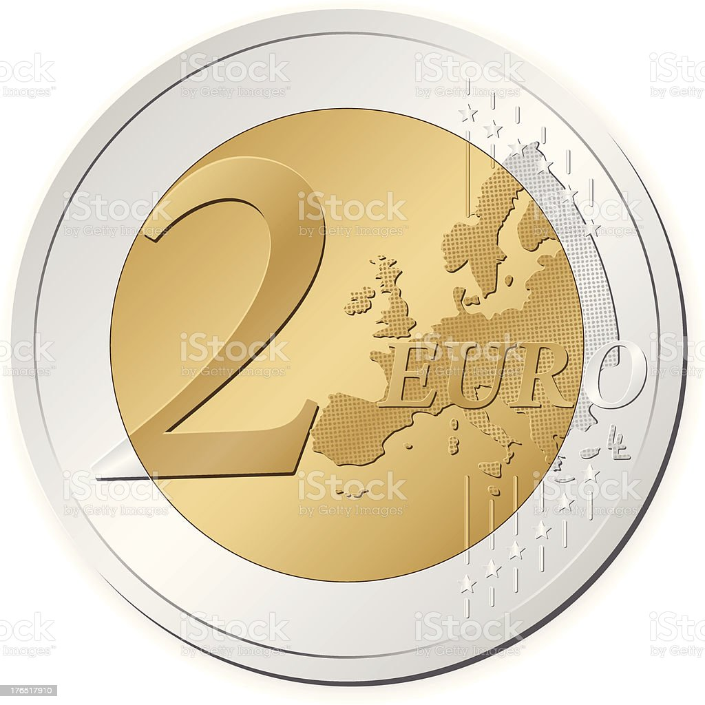 A silver and gold colored two euro coin on a white backing royalty-free stock vector art