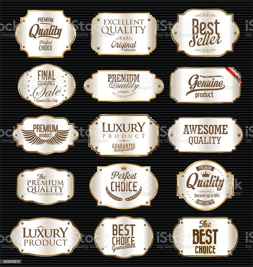 Silver and gold frame and label collection silver and gold frame and label collection - arte vetorial de stock e mais imagens de antigo royalty-free