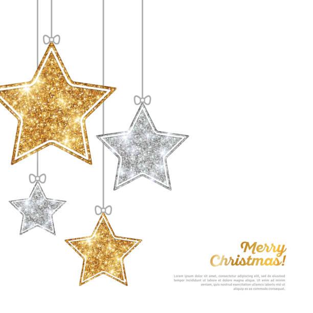 bildbanksillustrationer, clip art samt tecknat material och ikoner med silver and gold hanging stars on white - christmas decoration golden star