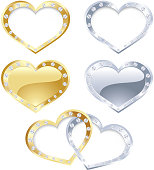 Vector illustration silver and gold heart frame collection with brilliant