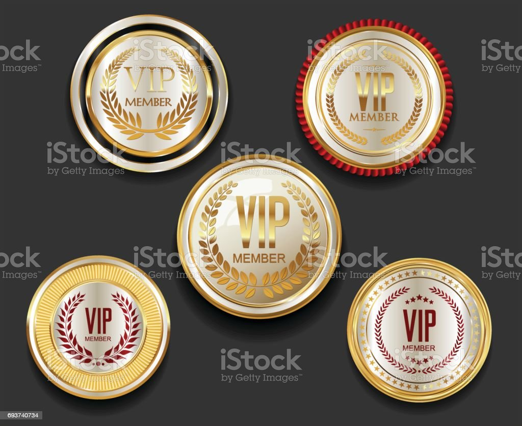 VIP silver and gold label collection vector art illustration