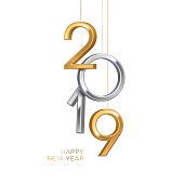 2019 silver and gold numbers hanging on white background. Vector illustration. Minimal invitation design for Christmas and New Year.