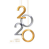2020 silver and gold numbers hanging on white background. Vector illustration. Minimal invitation design for Christmas and New Year.