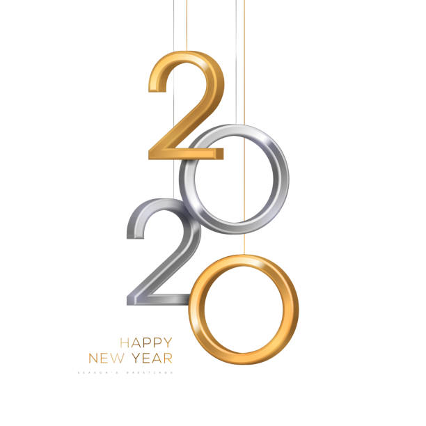 2020 silver and gold numbers 2020 silver and gold numbers hanging on white background. Vector illustration. Minimal invitation design for Christmas and New Year. 2020 stock illustrations