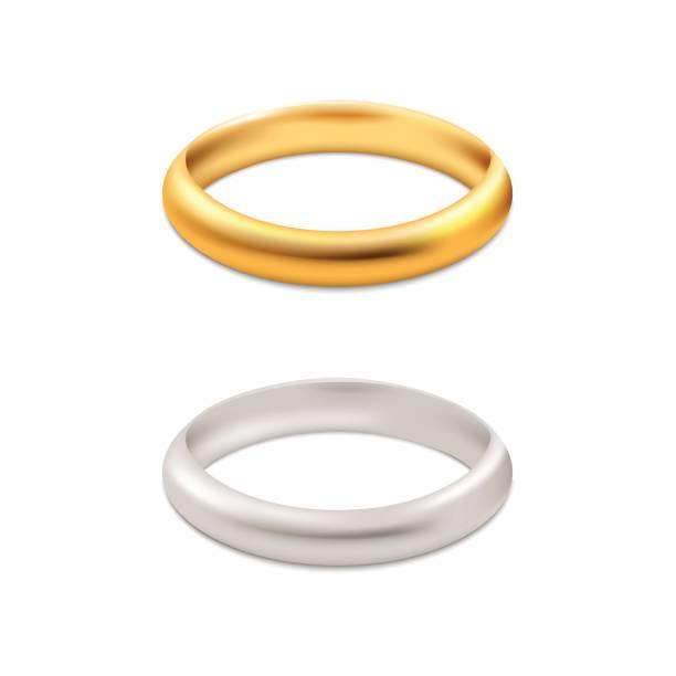 silber und gold trauringe. vektor. - clipart goldene hochzeit stock-grafiken, -clipart, -cartoons und -symbole