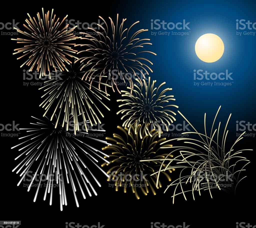 Silver and golden fireworks vector art illustration