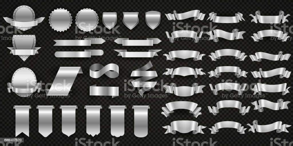 Silver and steel ribbons, metal wrapping banners vector set vector art illustration