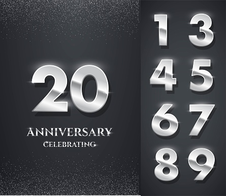 Silver anniversary logo with numbers template. 20th birthday, jubilee or wedding anniversary vector illustration. Invitation to celebrate. Shiny numbers on black background with glitter.