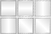 set of silver backgrounds with decorative border