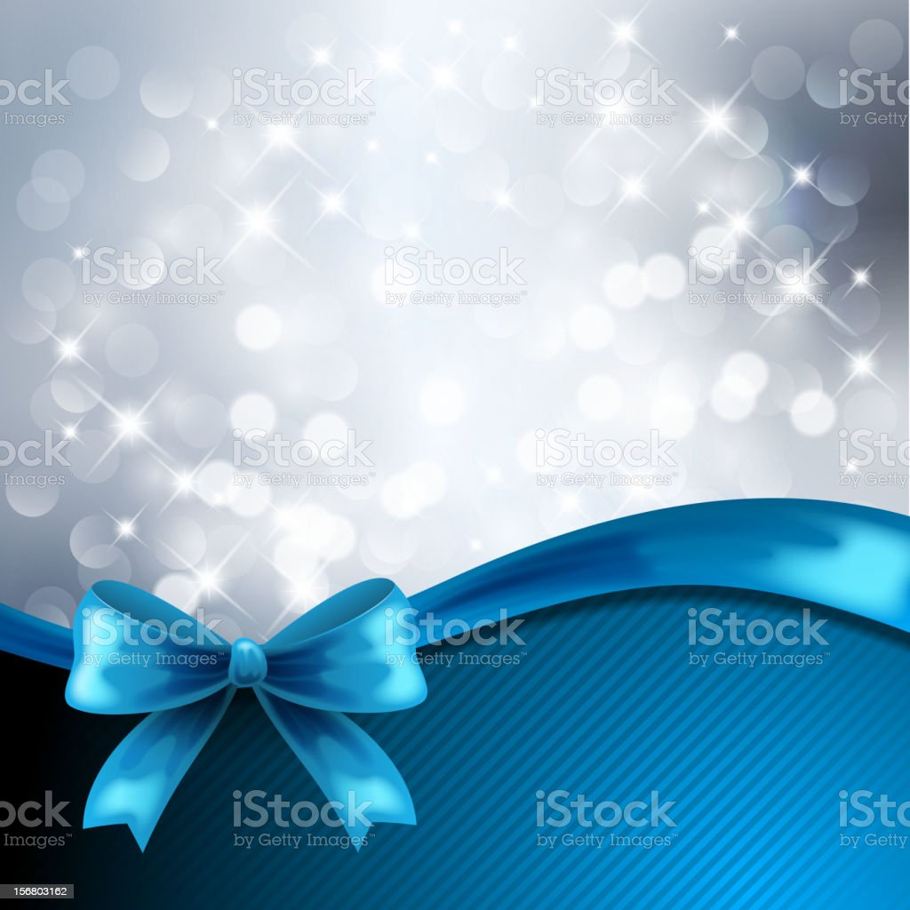 Silver background with blue bow vector art illustration