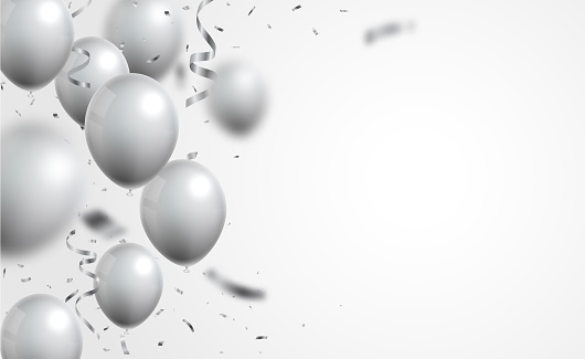 Vector Illustration of silver balloons and confetti on white background  eps10