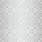 Silver gray baroque vintage seamless pattern, bright colours