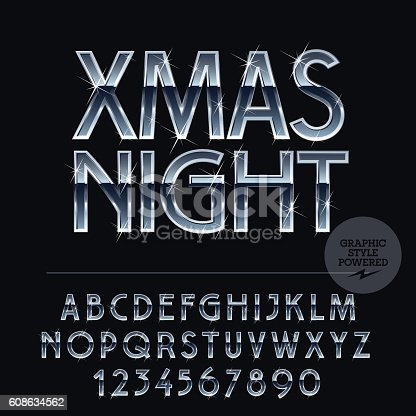 Vector set of alphabet letters, numbers and punctuation symbols. Silver and blue greeting card with text Xmas Night