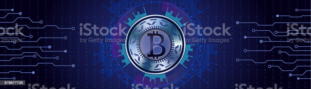 Silver Bitcoin concept on futuristic HUD background qith numbers and lines. vector art illustration
