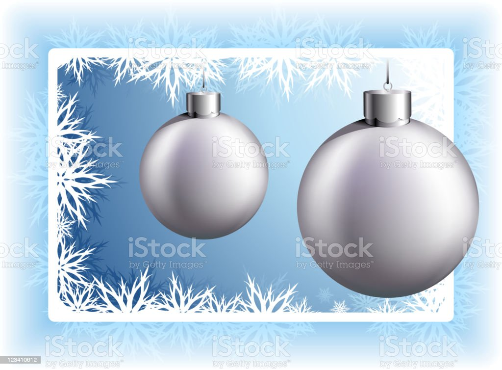 Silver blank Christmas Ornaments on blue snowflakes Background royalty-free stock vector art
