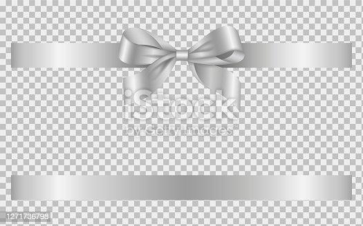 silver bow and ribbon vector