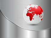 Silver business background with earth globe, vector illustration.