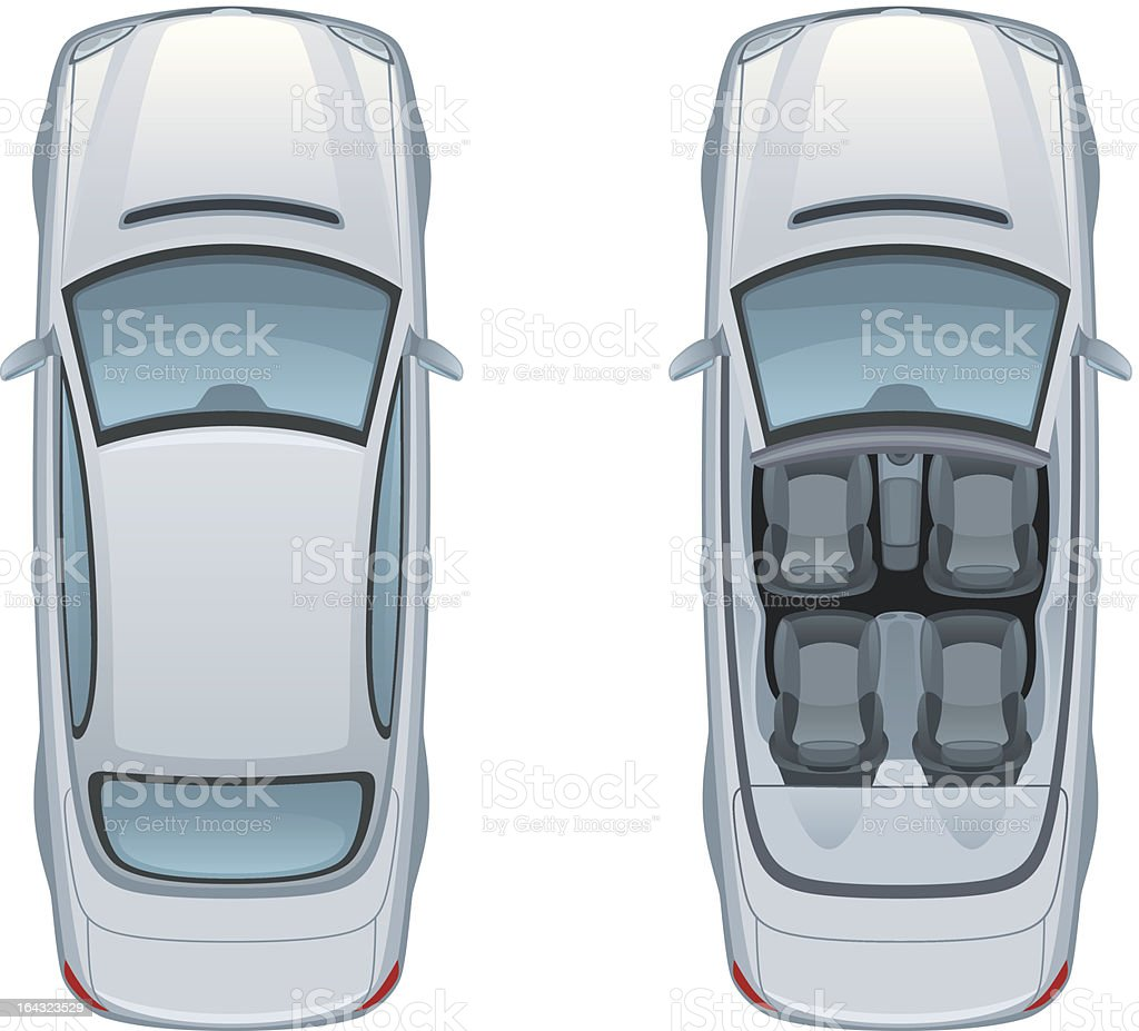 Silver car vector art illustration