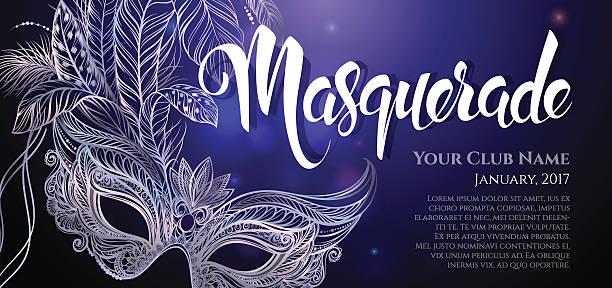 ilustrações, clipart, desenhos animados e ícones de silver carnival mask with feathers - mardi gras