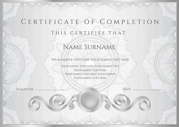 ilustraciones, imágenes clip art, dibujos animados e iconos de stock de plata (plantilla de certificado o diploma). el diseño de fondo guilloche (patrón de cuadros) - marcos de certificados y premios
