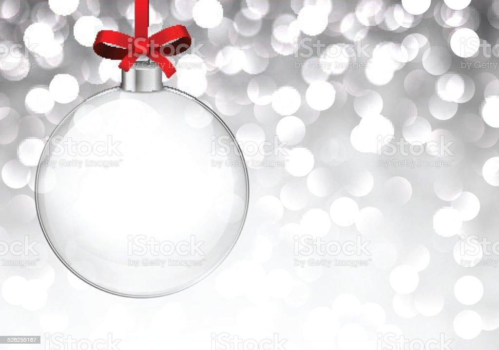 Silver christmas background with glass ball. vector art illustration