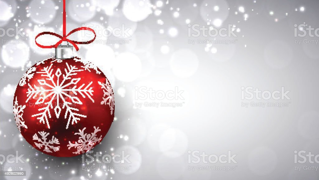 Silver christmas background with red ball vector art illustration