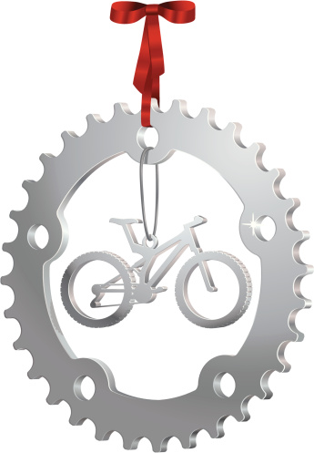 Silver Christmas Ornament with a Gear and Mountain Bike