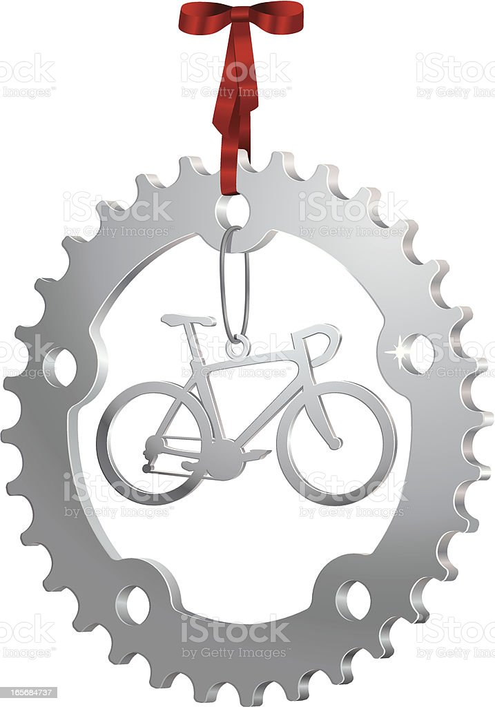 Silver Christmas Ornament with a Gear and Road Bike royalty-free stock vector art