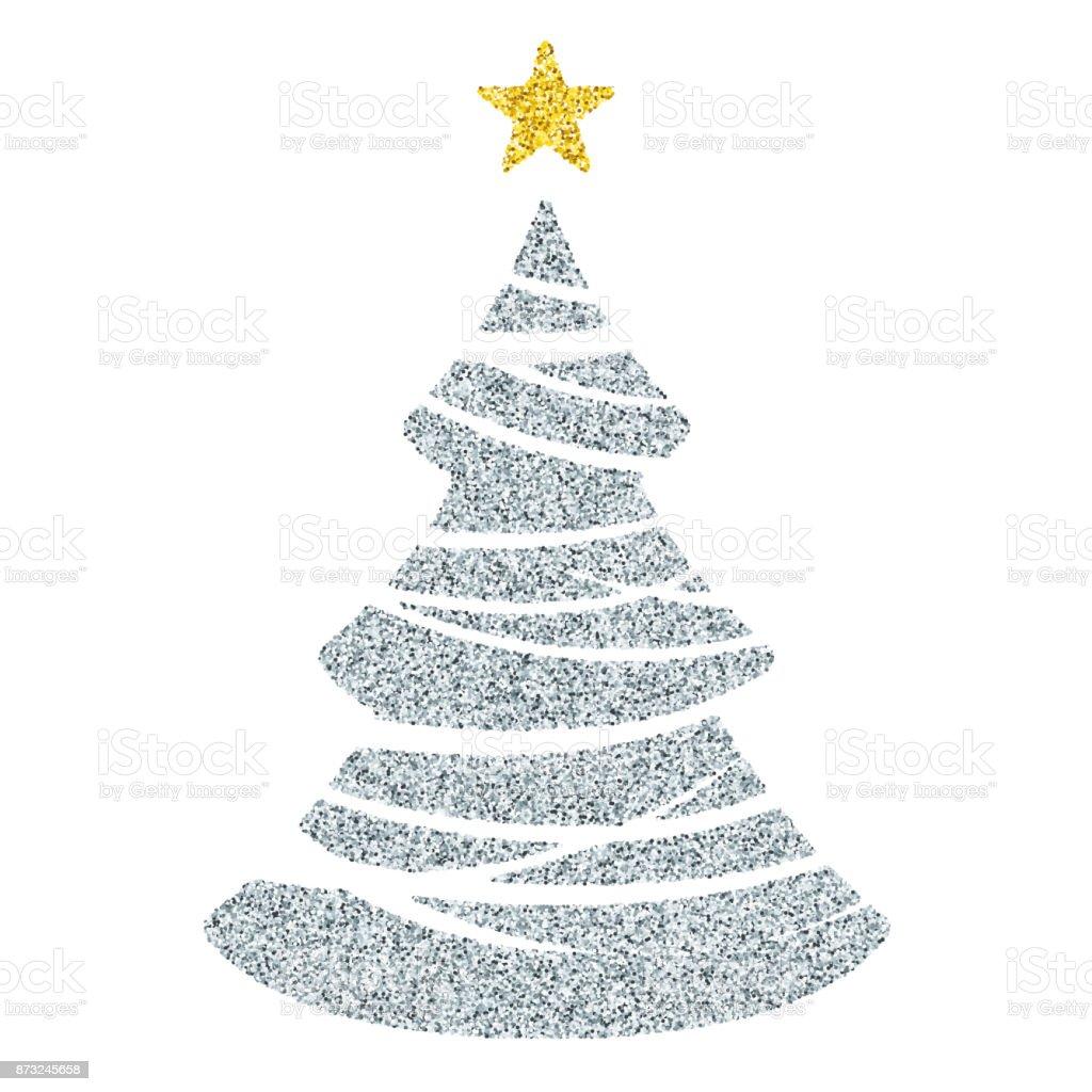 Silber Weihnachtsbaum Symbol Glitter Vektor Christbaumschmuck Auf