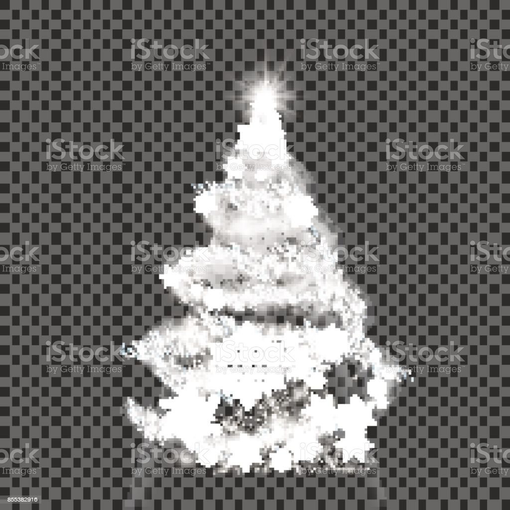 Silver Christmas Tree On Transparent Background Stock Vector Art